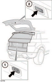 1. Press to open the powered tailgate.